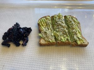 Blackberries and avocado toast